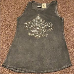 Gray Tank top with embellished design on front
